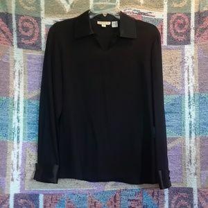 Long Sleeve Black 100% Silk Blouse